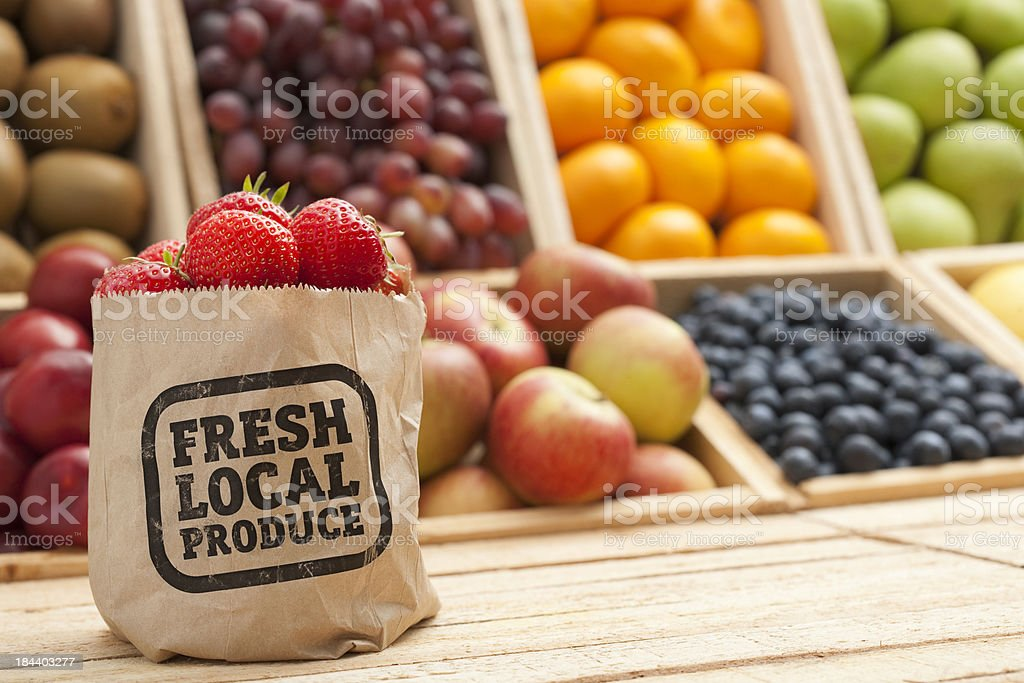 Fresh Local Produce on Greengrocers counter top stock photo