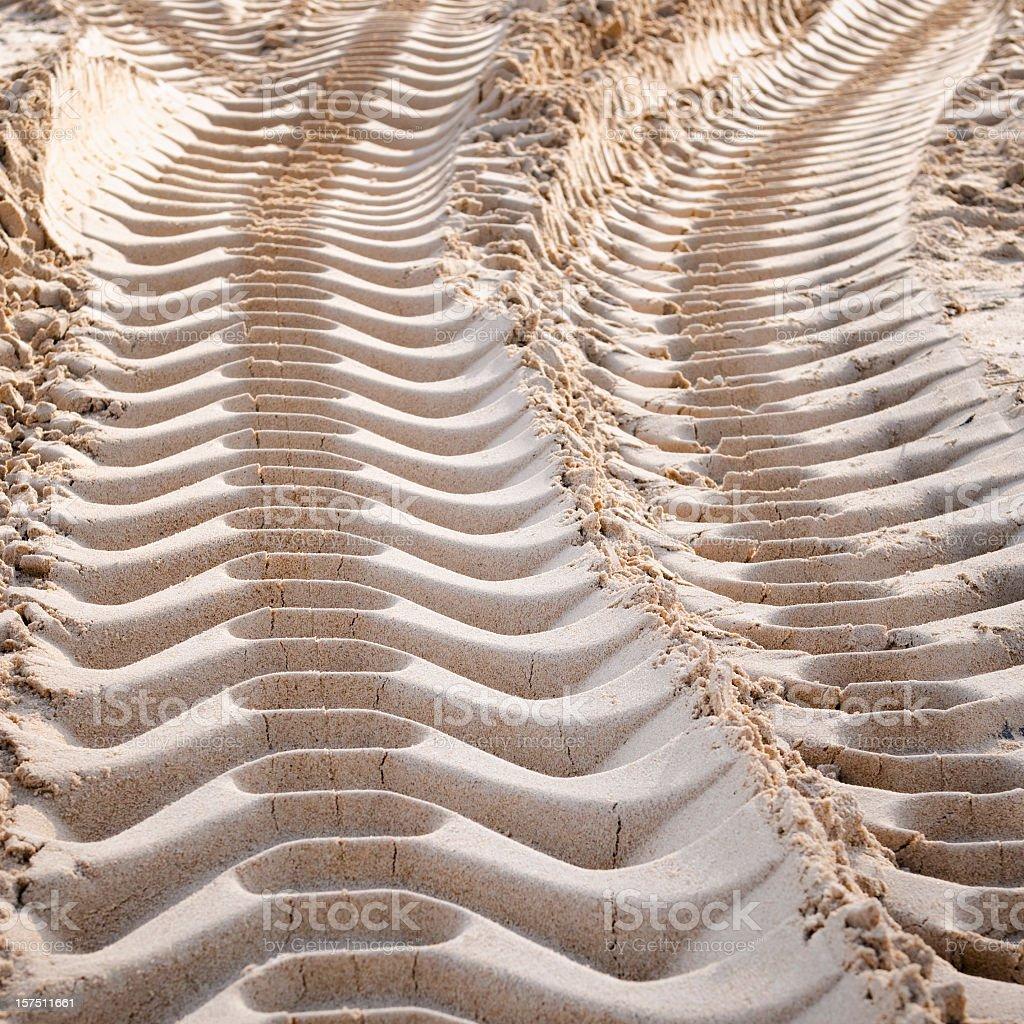 Fresh Machine Imprints in Sand stock photo