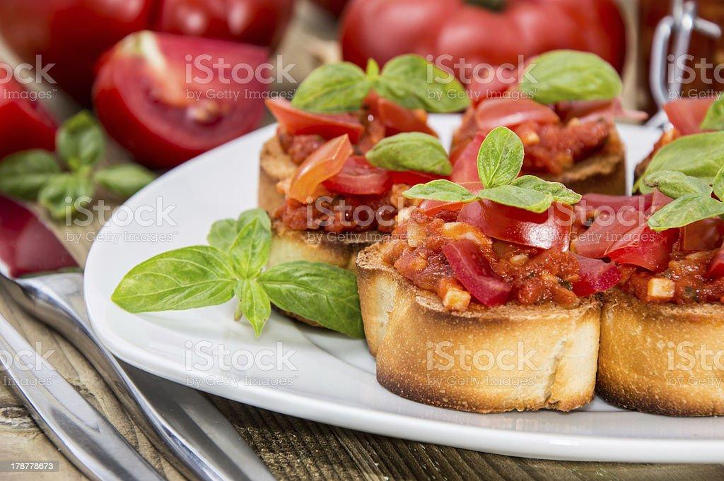Fresh made Bruschetta on a plate royalty-free stock photo