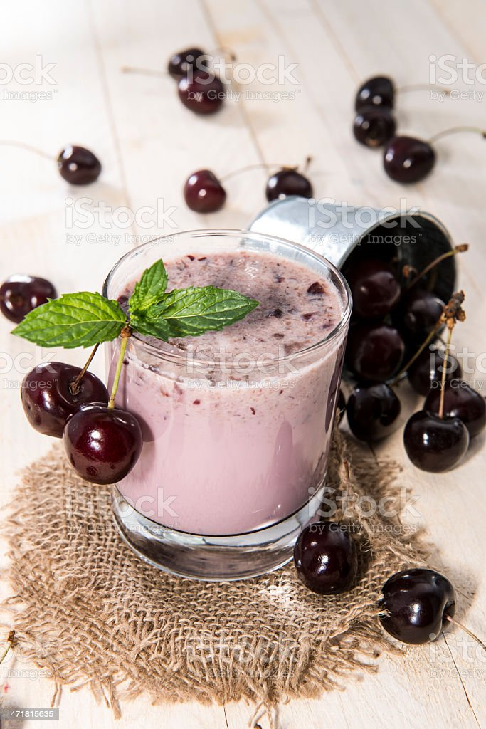 Fresh made Cherry Smoothie royalty-free stock photo