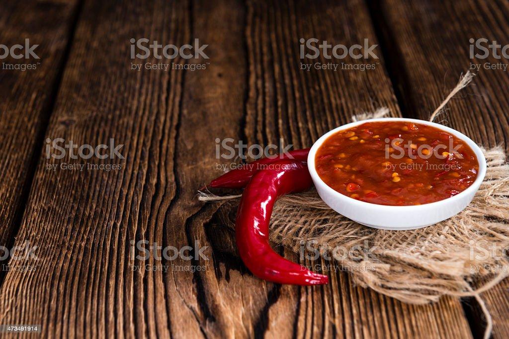 Fresh made Chili Sauce (Sambal Oelek) stock photo