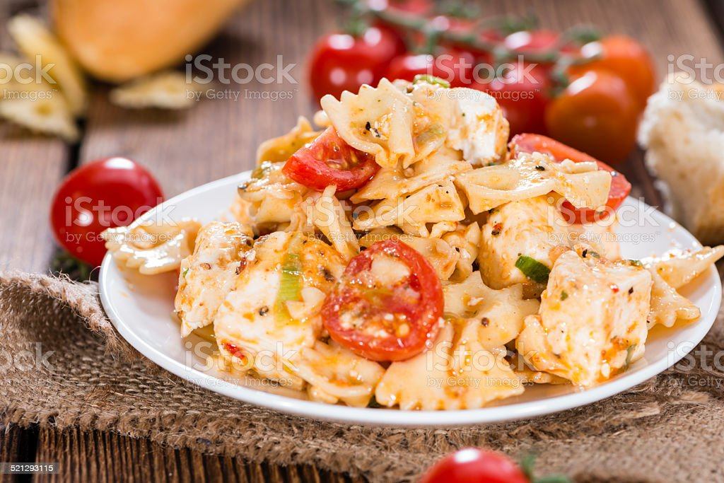 Fresh made Pasta Salad (with Farfalle) stock photo