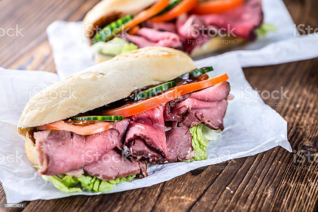 Fresh made Sandwich (with Roast Beef) stock photo