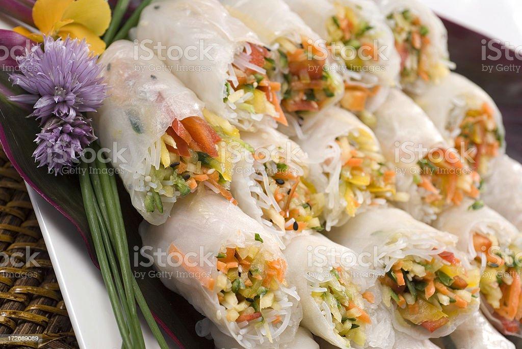Fresh made spring rolls royalty-free stock photo