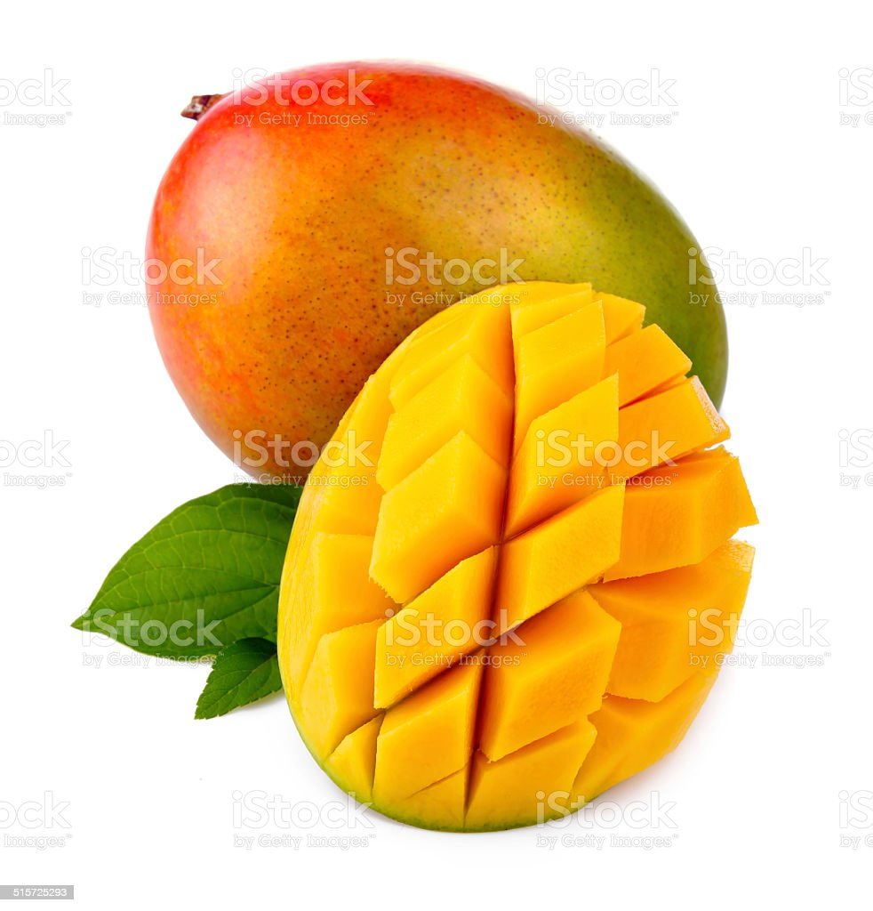 Fresh mango fruit with cut and green leafs isolated stock photo