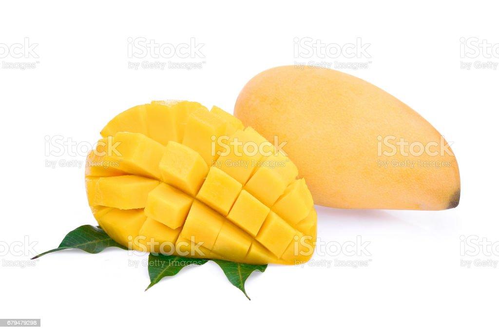fresh mango with leaves isolated on white background stock photo