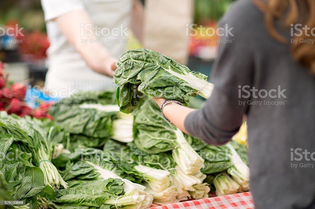 Fresh mangold on the market stock photo