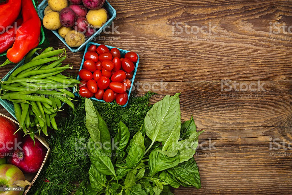 Fresh market fruits and vegetables stock photo