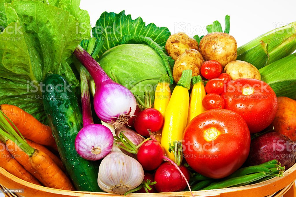 Fresh Market Vegetable and Fruit Border Frame on White Background stock photo
