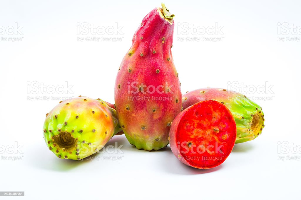 Fresh mature Prickly pears isolated on white background. stock photo