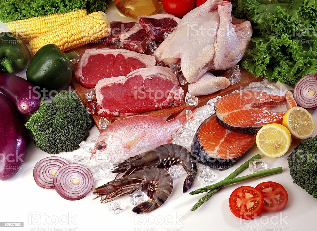 Fresh meat and vegetables royalty-free stock photo