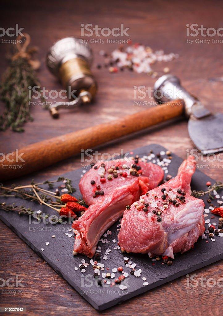 Fresh meat on the bone steak stock photo