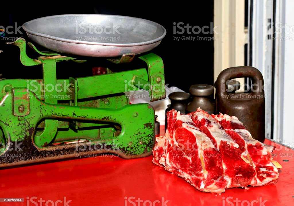 Fresh meat on the market stock photo