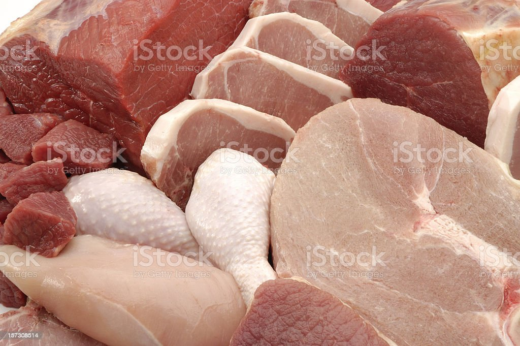 Fresh meats background stock photo