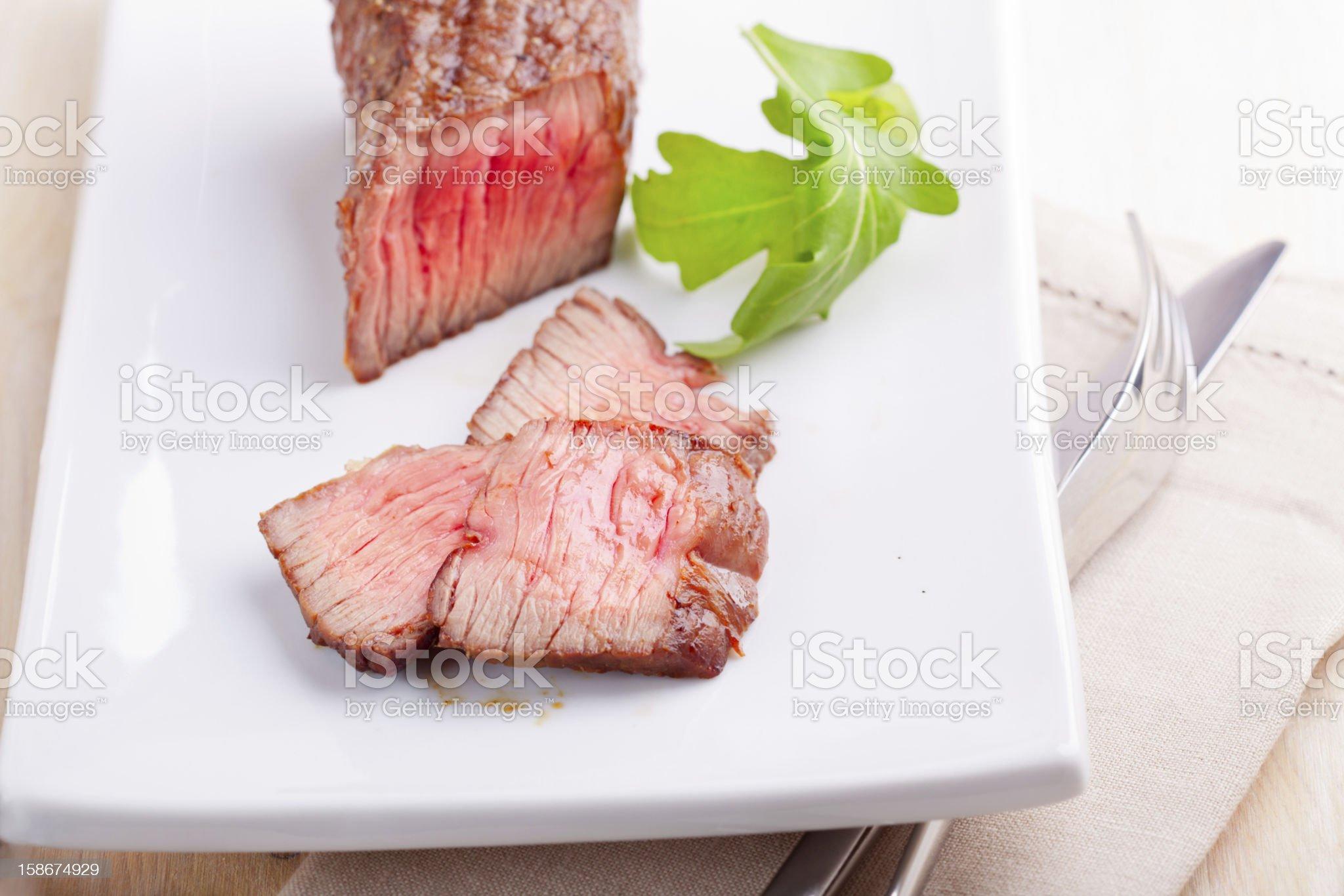Fresh medium grilled steak royalty-free stock photo