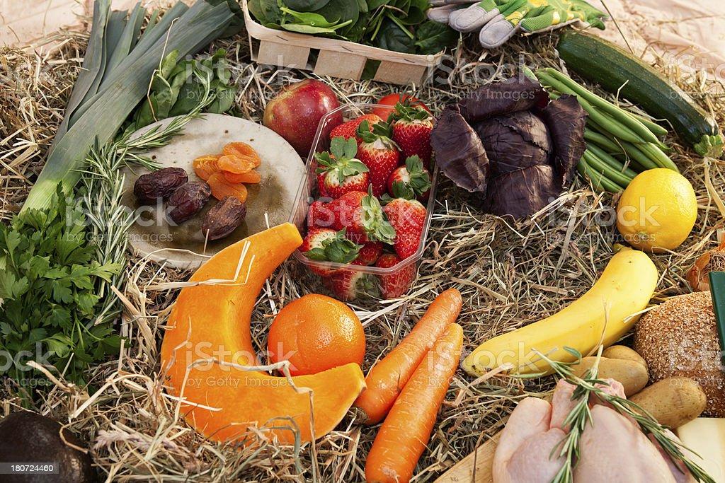 Fresh Melon, Orange, Strawberries, Vegetables and Chicken royalty-free stock photo