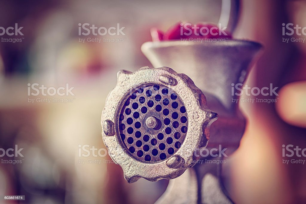 Fresh Minced Meat in a Mincer stock photo