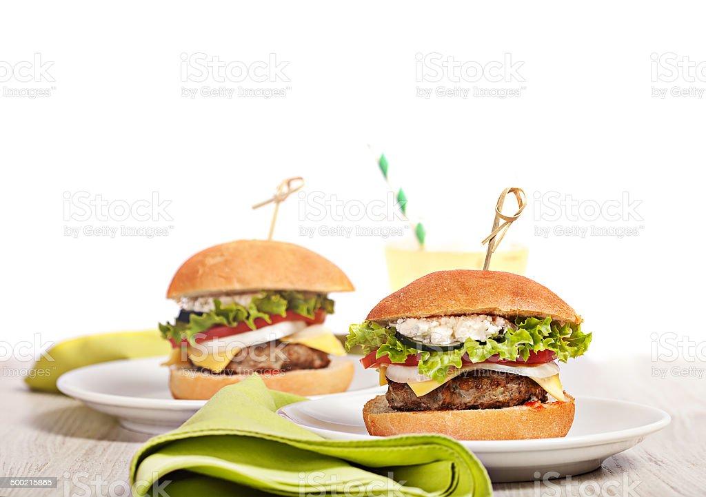 Fresh mini burger served meal stock photo