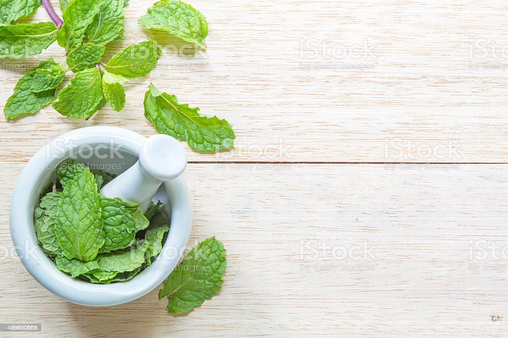 Fresh mint in mortar on garden table. stock photo