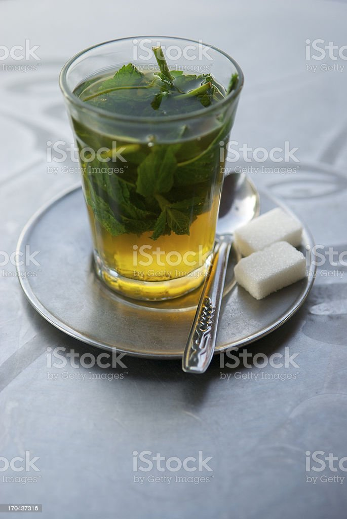 Fresh Mint Tea with Sugar Cubes stock photo