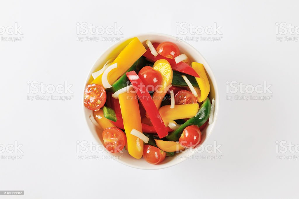 Fresh mixed bell pepper and tomato salad stock photo
