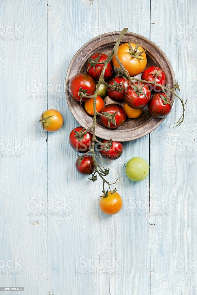 Fresh mixed tomatoes stock photo