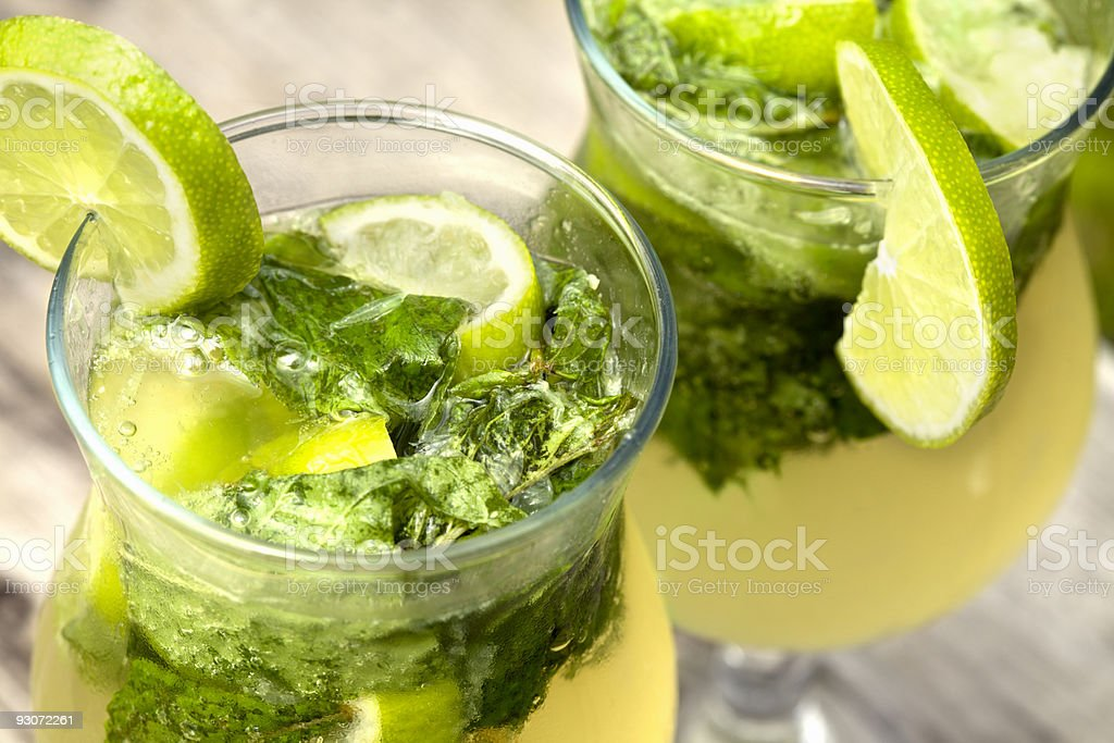 Fresh mojito cocktail in glass tumblers royalty-free stock photo