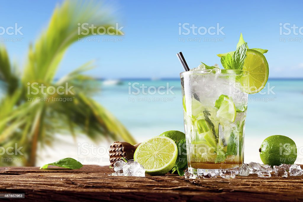Fresh mojito cocktail on wood stock photo