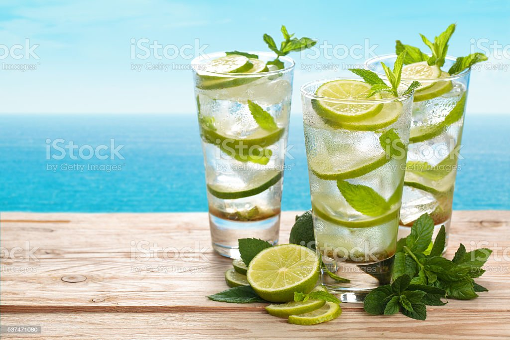 Fresh mojito cocktail. stock photo