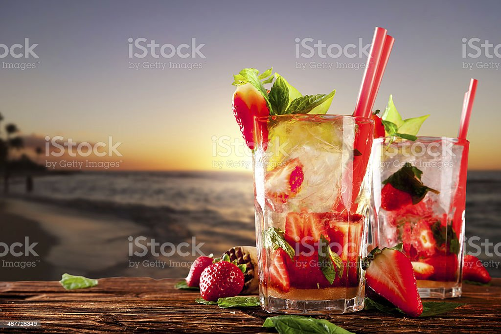 Fresh mojito cocktails on beach stock photo