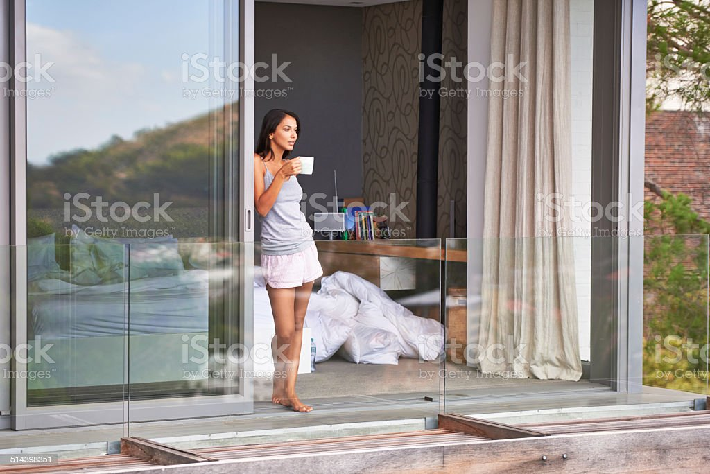 Fresh morning air and coffee stock photo