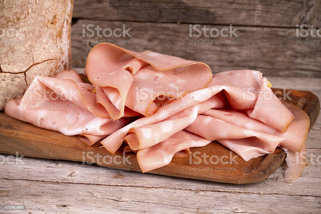 Fresh Mortadella Slices stock photo