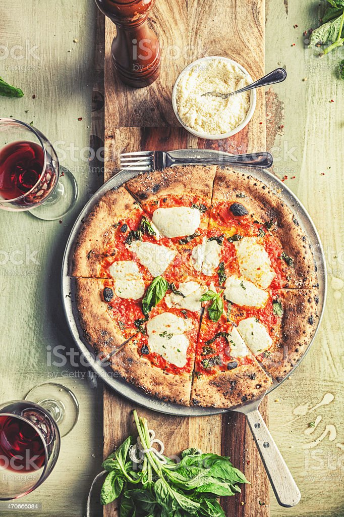 Fresh Mozzarella And Basil Pizza stock photo