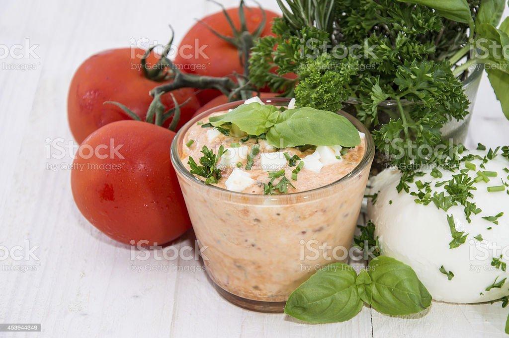 Fresh Mozzarella Creme in a glass stock photo