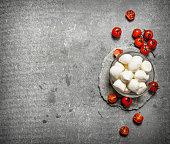 Fresh mozzarella with tomatoes.