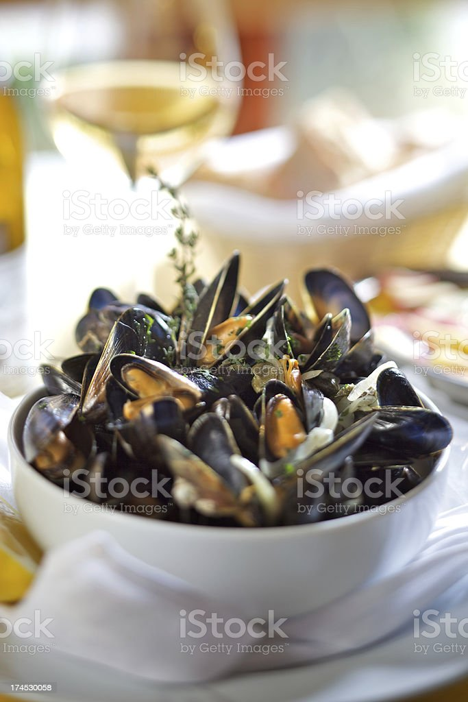 Fresh mussels in white wine royalty-free stock photo