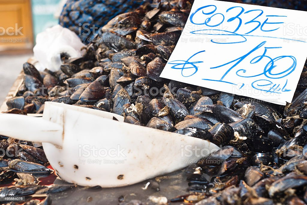 Fresh mussels on fish farmer market ready for sale stock photo