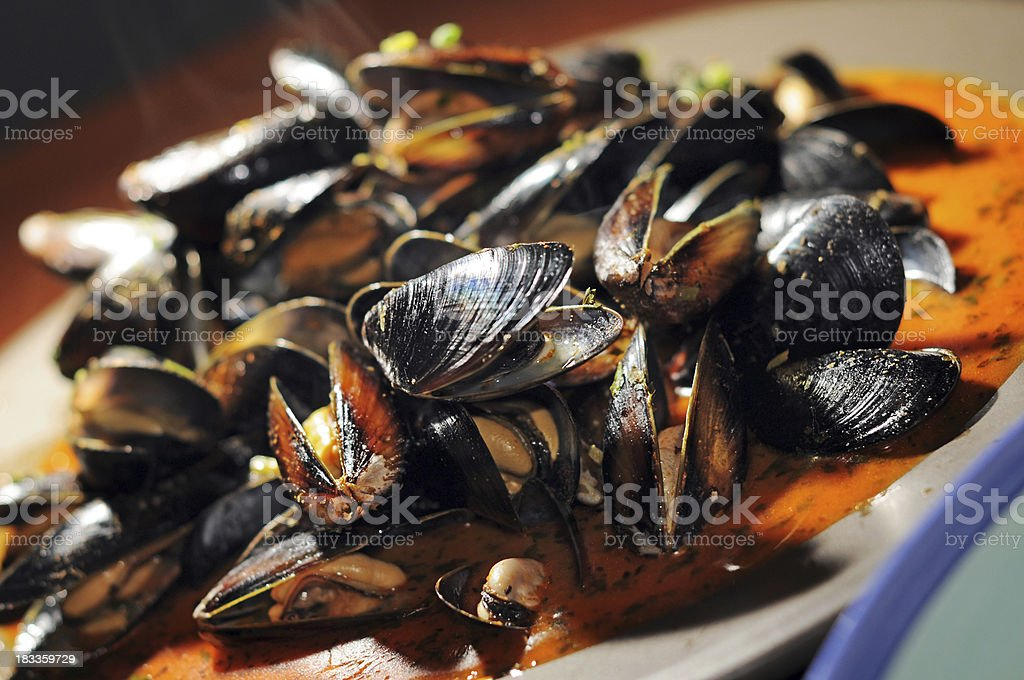 Fresh Mussels, Red Thai Curry Sauce stock photo