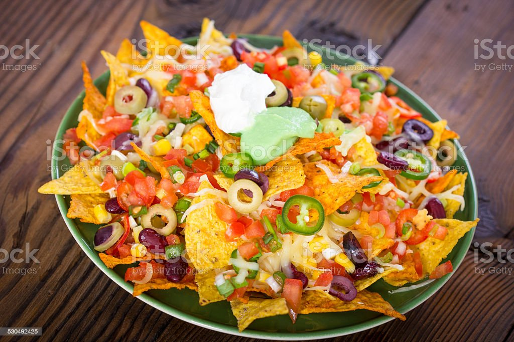 Fresh nachos on the table closeup stock photo