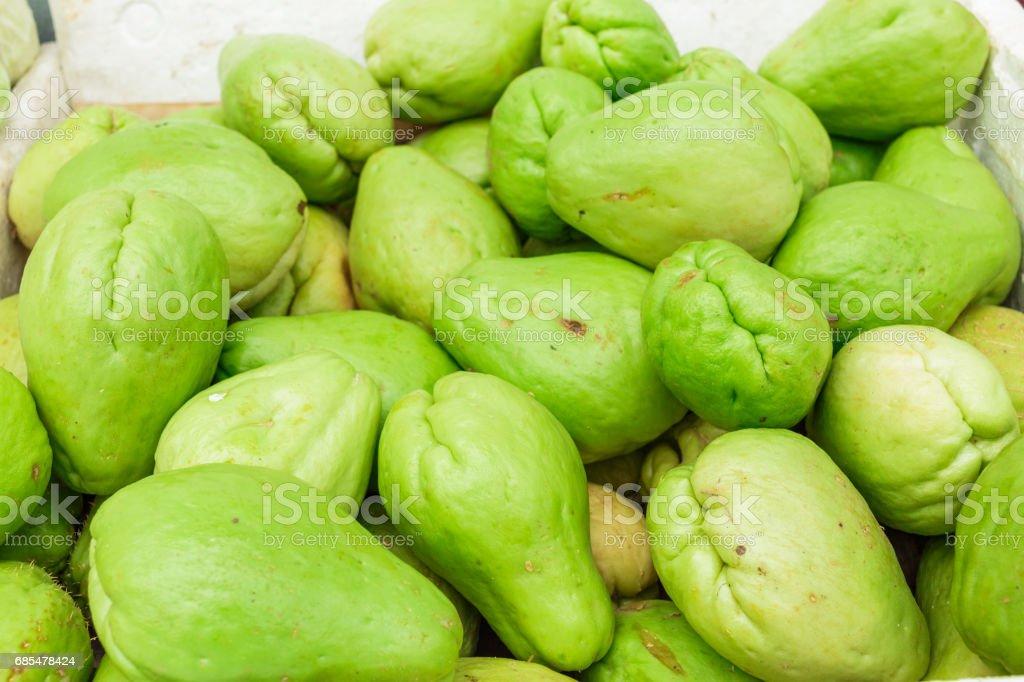 Fresh natural and organic of chayote fruits stock photo