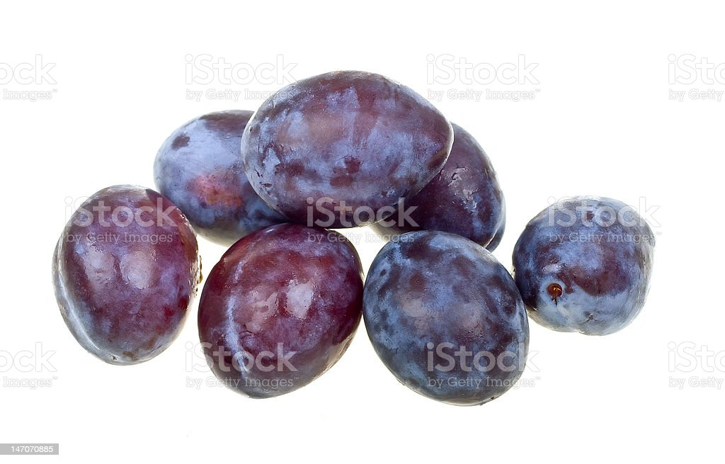 Fresh natural plums isolated on white royalty-free stock photo