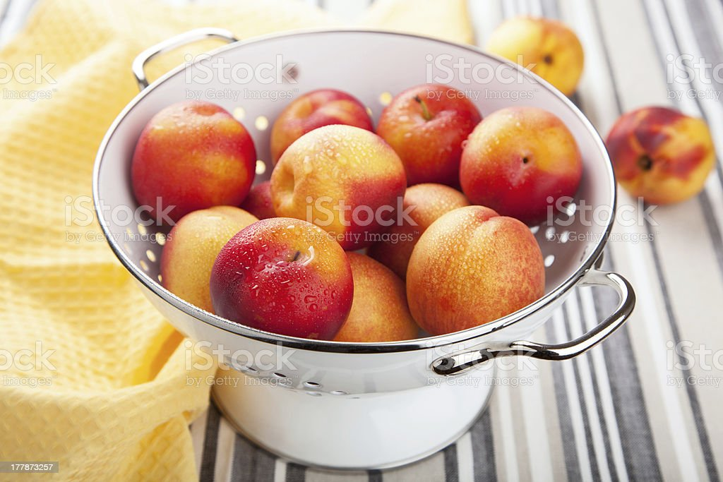 fresh nectarines and plums in colander royalty-free stock photo