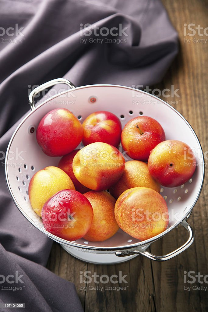 fresh nectarines and plums royalty-free stock photo