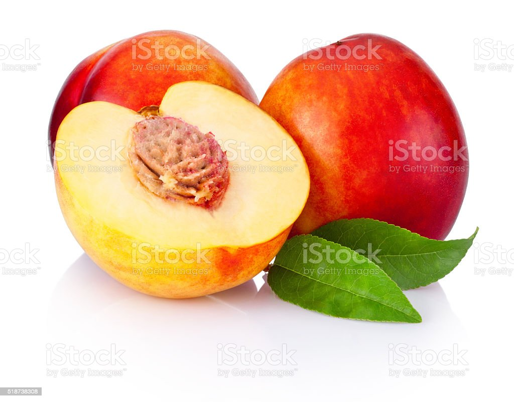 Fresh nectarines fruit isolated on white background stock photo
