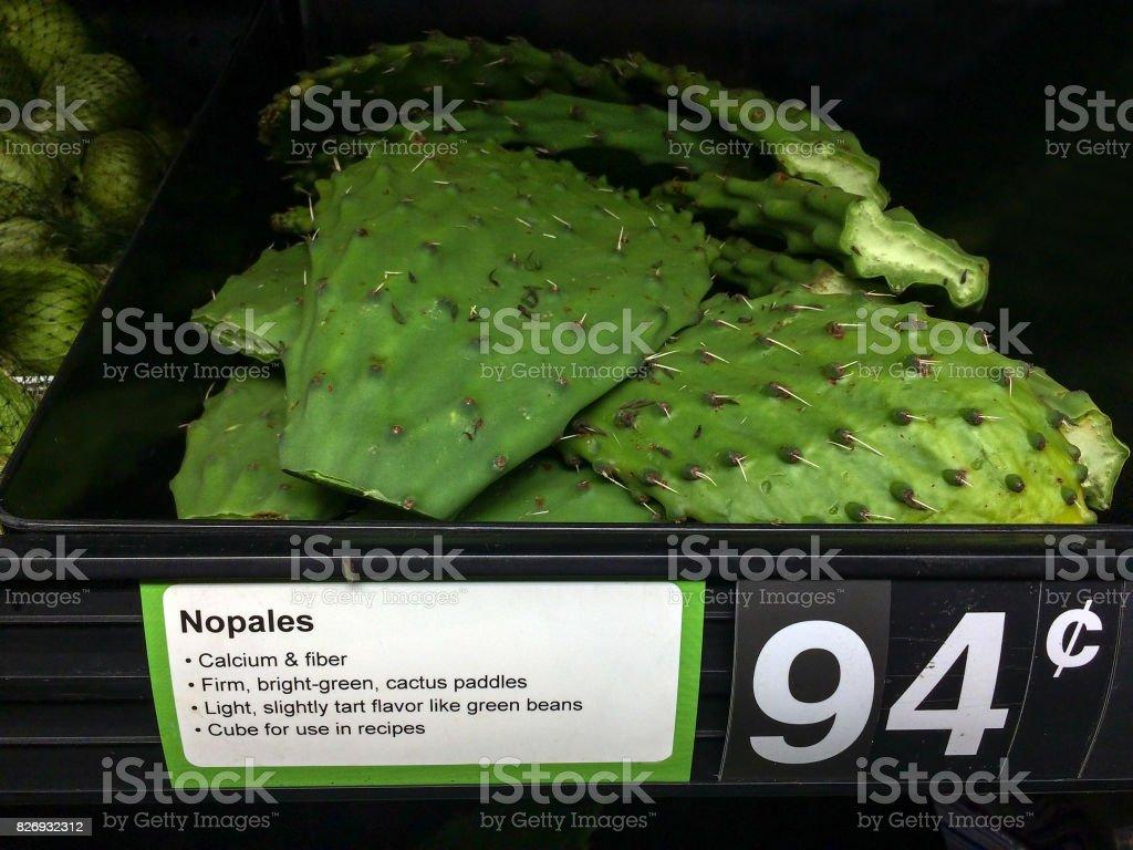 Fresh Nopales Paddles stock photo