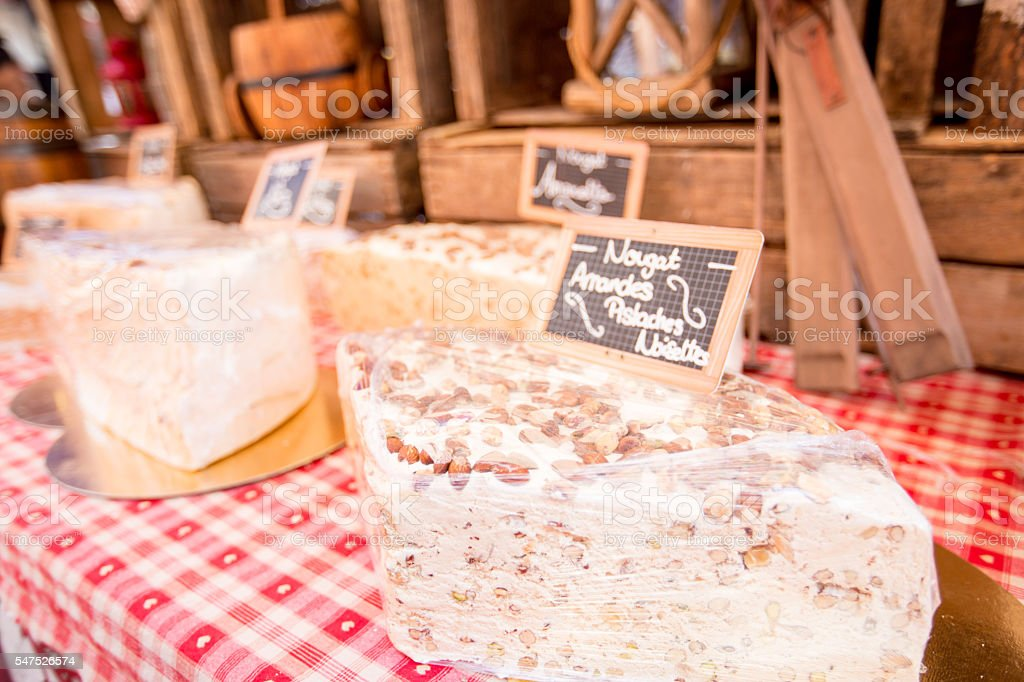 Fresh nougat at a market in Southern France stock photo