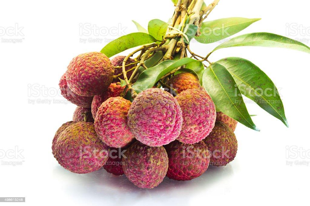 Fresh of litchi fruit isolated stock photo