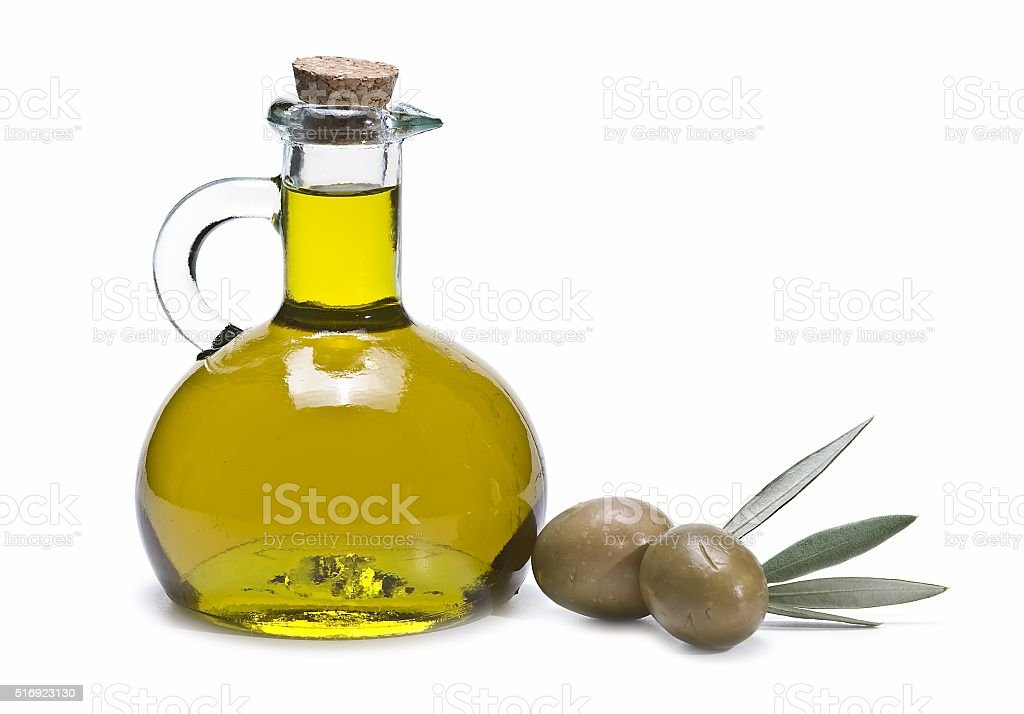 fresh olive oil in a bottle stock photo