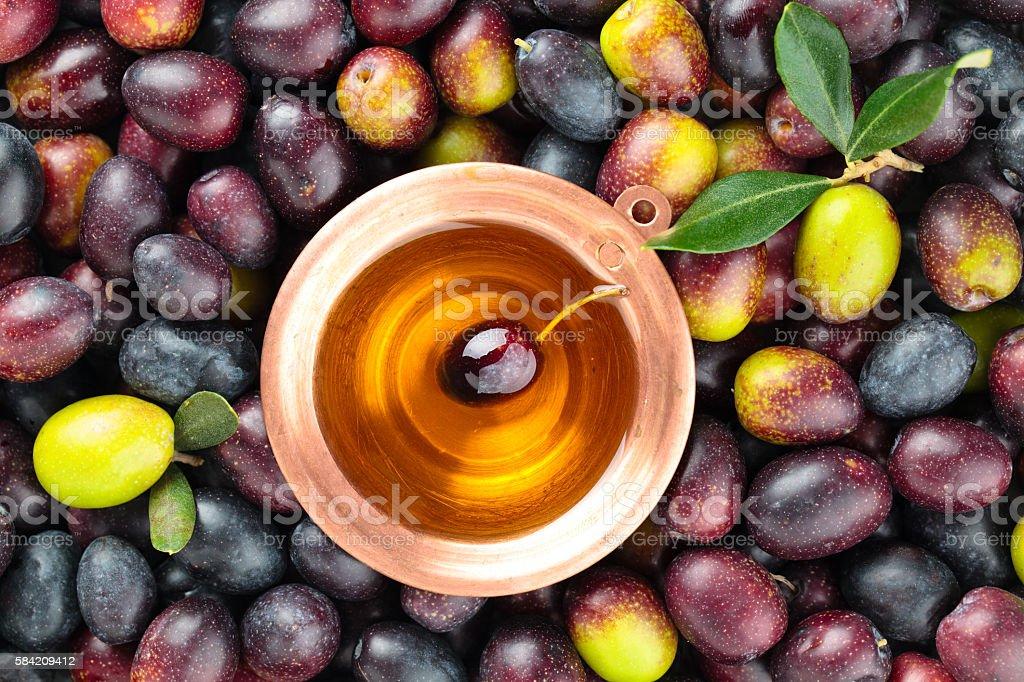 Fresh olives background. stock photo