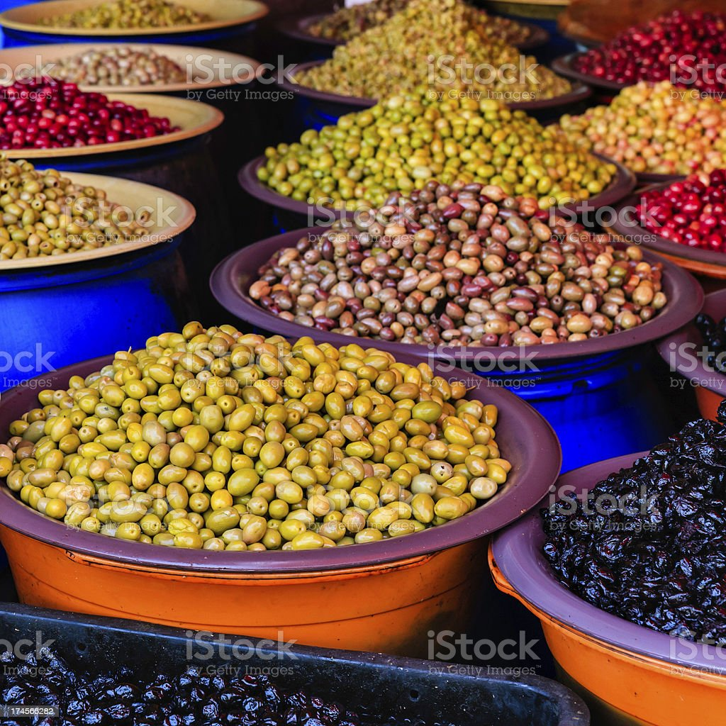 Fresh olives for sale, Casablanca, Morocco royalty-free stock photo